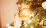 Ornament Hanging from Decorated Christmas Tree