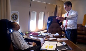 """Let's incentivize the columnists with a conference discount,"" Treasury Secretary Tim Geithner tells the president during a flight to Macon, Ga. (Neither will be there May 4-6)."