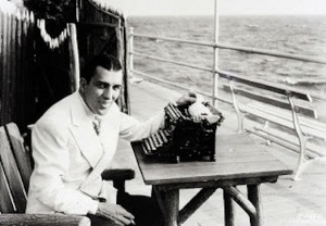 """Toast of the Town"" columnist Ed Sullivan working on his you-know-what at the Jersey Shore, 1936."