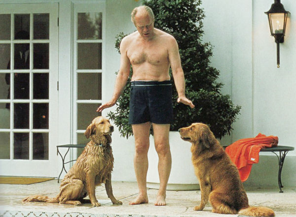 Pool coverage: President Ford with Liberty and pup, circa 1976, at White House pool.