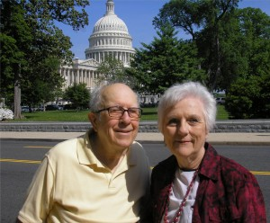Here's Bob and Mary Haught on location near the Capitol. Not as tourists, but insiders, having worked in the District as well as being longtime residents -- well, nearby Virginia.