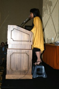 NSNC 2004-06 President Suzette Martinez Standring addressing the columnists' 2005 conference, in Grapevine, Texas.