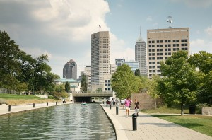 Indianapolis skyline at Central Canal