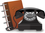 Old rotary phone with notebook