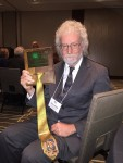 New Jersey-based writer Dave Astor displays the Jeff Kramer Mystic Tie Award he won June 27, 2015, in Indianapolis at the 39th annual conferenced of the National Society of Newspaper Columnists. Photo by Cathy Turney.