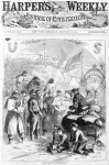 One of the first depictions of Santa Claus, by Thomas Nast, Jan. 3, 1863, cover of Harper's Weekly.