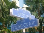 Faux streetsign of Hollywood at Sunset,, at Hong Kong Disneyland Resort