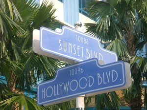 Faux streetsign of Hollywood at Sunset, at Hong Kong Disneyland Resort