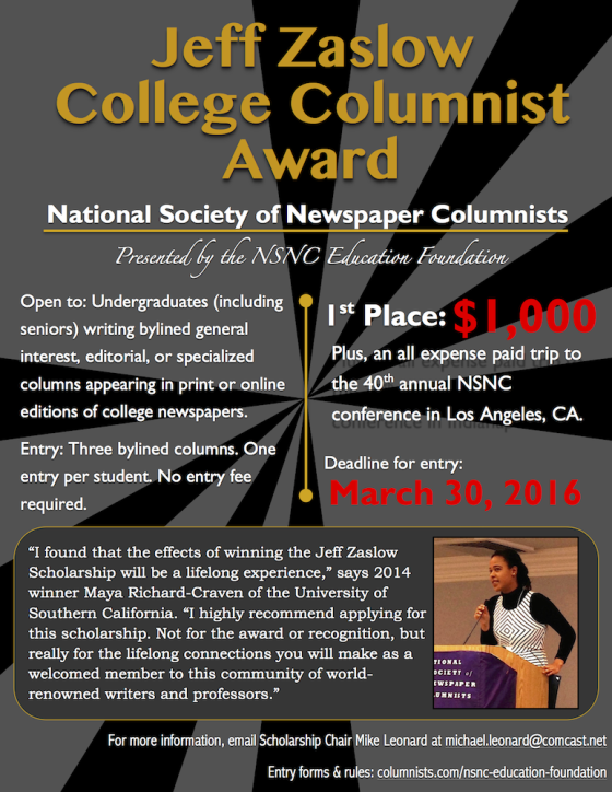 Poster for NSNC's 2016 College Columnist Scholarship