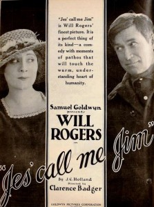 Ad for the 1920 film Jes' Call Me Jim with Irene Rich and Will Rogers